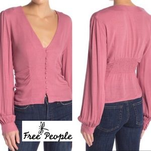 FREE PEOPLE Rose Gathered Side Top w Buttons NWT